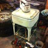 Vintage may tag wringer washer with gas engine
