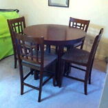 Pub style table + 4 chairs