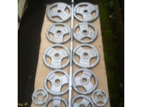 **LIKE NEW** 7ft OLYMPIC BARBELL WITH 98kg OLYMPIC TRI GRIP WEIGHTS