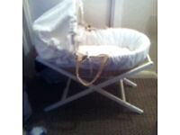 Mammars and papas white Moses basket and white stand
