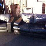 2 + 1 real leather black sofa and chair