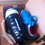 Indoor soccer shoes and shinguards