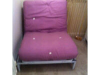 Lilac metal action futon vg condition