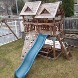 Cedar summit playset swing set with slide