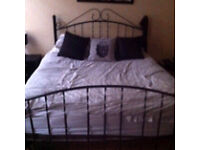 Black Metal Frame Double Bed and Mattress