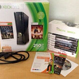 XBOX 360 Slim, Black, 250GB w/Games and Accessories