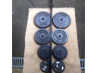 49kg CAST IRON WEIGHTS WITH 5ft BARBELL