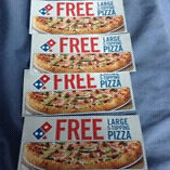 4 coupons for 4 large any toppings pizza's