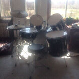 PRICE REDUCED silver tone drumset