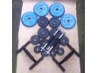 37kg CAST IRON WEIGHTS WITH DUMBBELLS AND PUSH UP BARS