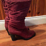 Size 6.5 mid-height burgundy boots