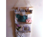 Hanging pockets / hand painted canvas