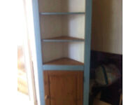 Solid pine corner shelving unit