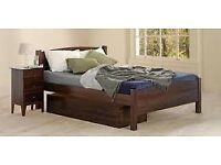 Warren Evans Brahms dark wood double bed , no drawers just frame and mattress