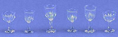 Dollhouse Clear Wine Glass Goblet Stemware Set 1:12 Doll House Miniatures