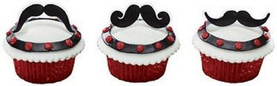 MUSTACHE STACHE BASH CUPCAKE PICKS 12 BAKERY SUPPLIES