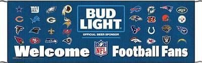 """NEW Budweiser Welcome Football Fans 70"""" x 22"""" Outdoor Banner"""