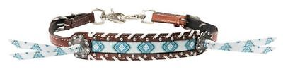 Showman Turquoise Diamond Navajo Inlay Leather Laced Trim Tassels Wither Strap