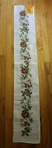 Preworked Paragon Maroon Roses Flowers Bouquet Needlepoint Completed Finished