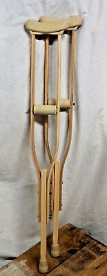 "Wooden Crutches - Adjustable Height 40""-49"" - Very Good Condition - Very Sturdy"