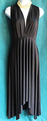 NWT $42 PIRAYA Black Matte Jersey Halter Dress Sz M Cocktail LBD Long Ties Sexy