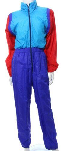 Natty California Vtg 80s Womens M Colorblock Jumpsuit Windbreaker Track Zip VGUC