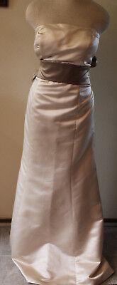 Bill Levkoff champagne satin bridesmaids formal evening long dress 14 ()