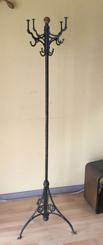 "Antique Cast Iron And Brass BARBER SHOP - HALL TREE -  COAT RACK ""UNBREAKABLE """