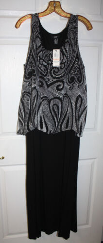 Womens Ladies NWT Alfani Woman Black White Sleeveless Maxi Dress Size 2X