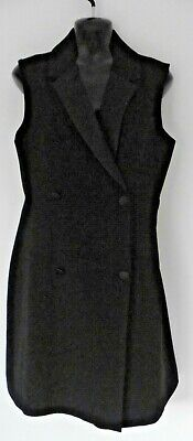IRIS & INK LAUREL DOUBLE BREASTED TUXEDO DRESS BLACK SIZE 12 £175 BUTTON FRONT