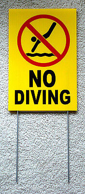 No Diving With Symbol 8 X12 Plastic Coroplast Sign With Stake Yellow