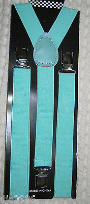 Unisex Light Green Blue Mint Y-Style Back Adjustable suspenders-New in Package! (Light Green Hosenträger)