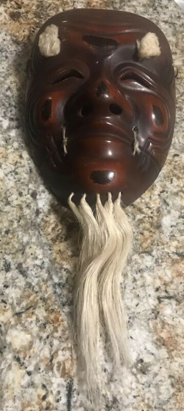 RARE Wooden Kabuki Mask Japanese Oni Demon