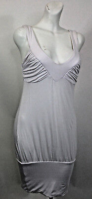 XS BEBE Sport White Cotton Gathered Bust Band Hem Short Dress Bubble Ruched
