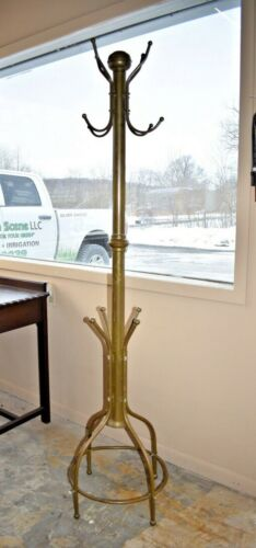 Vintage Large Brass Coat Rack, Hall Tree