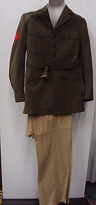 Men's Belted MILITARY marine corps alpha green dress  UNIFORM 40 R COSTUME - Marine Corps Costume