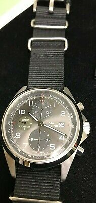 GLYCINE WATCH CHRONOGRAPH AUTOMATIC MODEL # GL750  GREY DIAL COMBAT VAL7750
