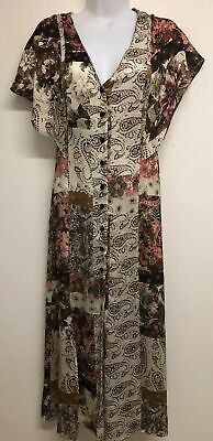 NWT ZARA MULTICOLOURED FLORAL PRINT LONG FLOWING DRESS SLIT Size XS 7938/124