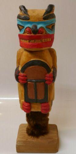 Myron Barnes (Tlingit) Native Hand Carved Vivid Poly-chrome Bear Rattle W/ Stand