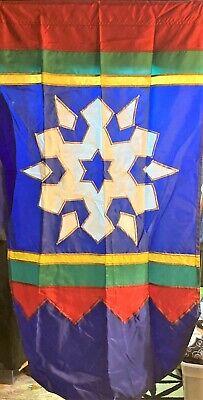 Vintage Windsport CHRISTMAS, WINTER Outdoor Flag, Holiday SNOWFLAKE Decor Banner