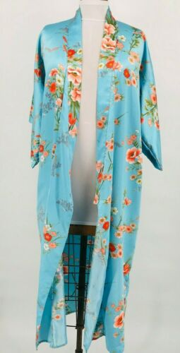 Vintage Japanese Kimono Polyester Blue Long Jacket Flowers Made in Japan Festive