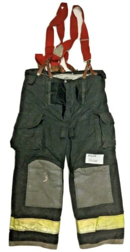 38x30 38R Janesville Lion Black Firefighter Turnout Pants with Suspenders P1288