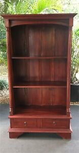 Solid timber bookcase shelves with drawers