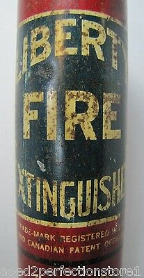 Antique LIBERTY FIRE EXTINGUISHER dry chemical long tube Wawanesa Mutual Ins Co