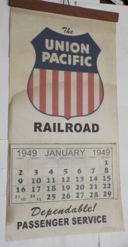 "1949 Union Pacific Railroad Hanging Calendar 18"" x 9"""