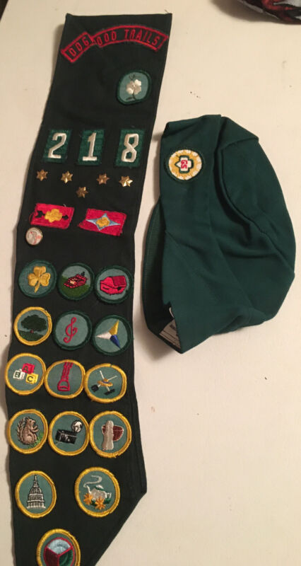 Girl Scout Sash with 22  Badges& Patches,  7 Pins  and Small Girl Scout Cap