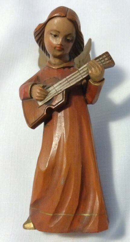 """Vintage Carved Wood Christmas Angel Playing Lute Made In Italy 5.5"""""""