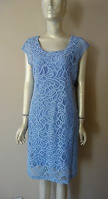 Miraclebody Womens Blue Lace Slimming Keen Lenght Dress Size 8  12  14 Nwt