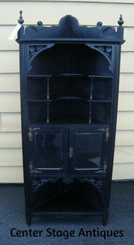 61386  Antique Victorian Ebony Corner Curio Cabinet Bookcase