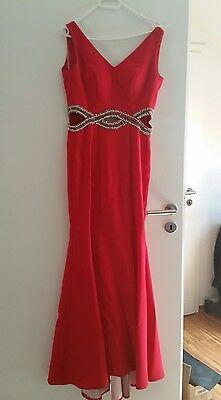 Abendkleid exklusiv Rot Gr.34/36 Mit SCHLEPPE